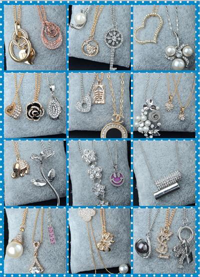 Niedrige Preis zufällige Art des Vorrates empfindliche Gold / Silber / Rosegold Die Kristallperle Claviclehalskette Luxuxhelle Halskette 30pcs
