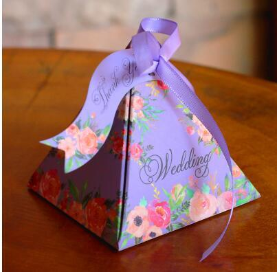 100 Pcs European style 6 colors Pearl paper triangle pyramid Wedding box Candy Box gift boxs wedding favour boxes TH160