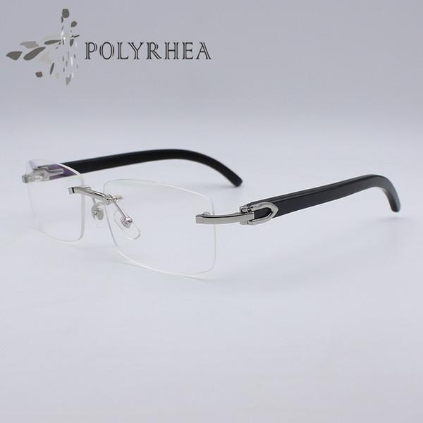 Black Buffalo Horn Glasses Gold Rimless Optical Sunglasses Men Women Brand Designer Glasses Carving Eyewear Frames With Box And Cases