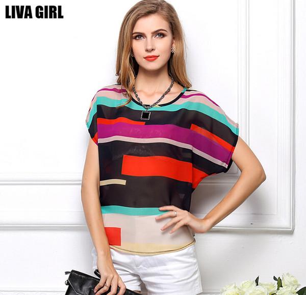 Las mujeres más el tamaño de bat Tops arco iris rayas impreso gasa blusa Ladies Girls Loose irregular camisas ropa de mujer prendas de vestir