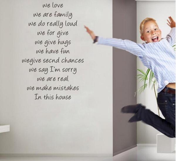 우리가 사랑하는 집 규칙 견적 벽 스티커 홈 장식 diy 이동식 vinly 벽 decals 거실 벽 decals