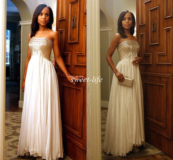 Olivia Pope 2015 Celebrity Dresses Gold Sequins Strapless A-Line Chiffon Floor Length Backless Cheap Party Formal Gowns Prom Evening Dresses