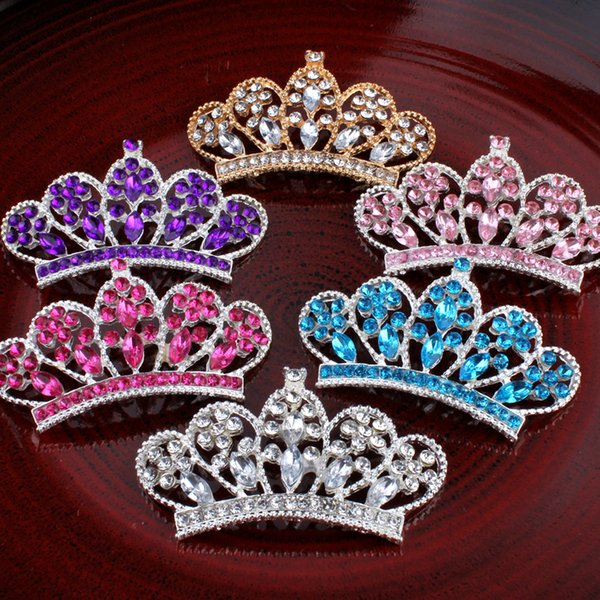 30pcs /Lot 6colors Fashion Headbands Handmade Metal Rhinestone Button Bling Alloy Crystal Flatback Crown /Tiara Buttons for Hair Accessories