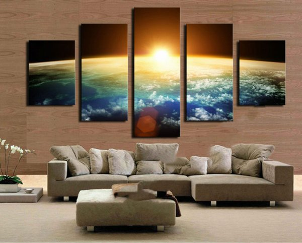 top popular 5 Panel Free shipping Sunrise Modern Home Wall Decor Canvas Picture Art HD Print Painting Canvas Arts UnFramed Painting 2019