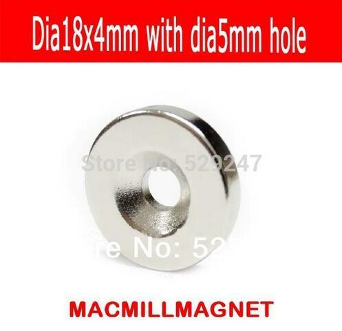 2016 Brand New 8pcs Super Strong Neo Ring Magnetic dia18-5x4mm, one side with countersunk Hole magnet,Free Shipping