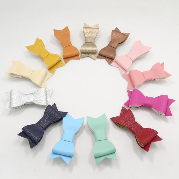 13 teile / los Kunstleder Bogen Haarspange Mode Hot Pink Gelb Orange Mint Mädchen Haarspangen Neugeborenen Kinder Teen Haarnadel