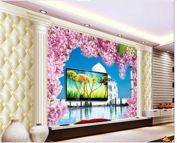 Personalizado foto papel de parede 3D estereoscópico flor de cerejeira romântica TV fundo 3d mural papel de parede 20159017