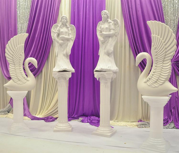 Upscale Elegant White Angel and Swan Roman Column Wedding Centerpieces Welcome Area Decoration Props Supplies Free Shipping