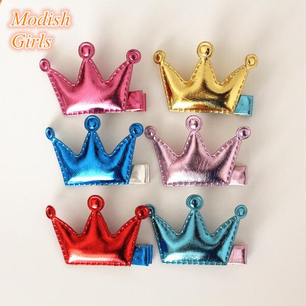 Hotsale Girls Crown Hair Clips Felt Shapes Princess Pu Leather Barrettes Party Accessoy Kids Handmade Headwear 50pcs /Lot
