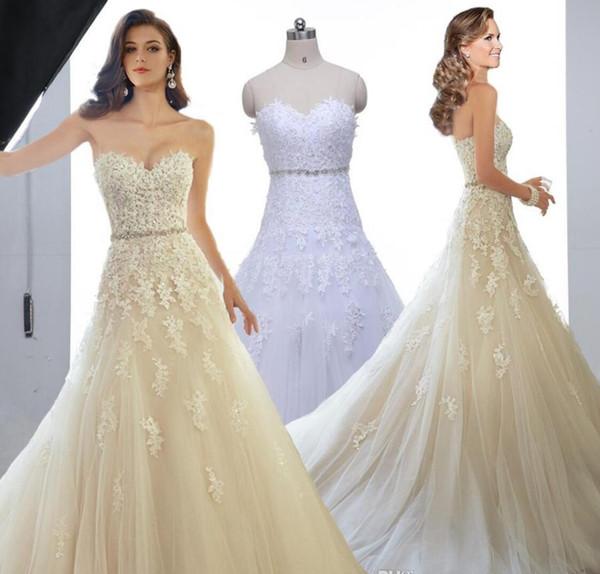 Sweetheart Light Champagne Lace Applique Abito da sposa con perline di colore Sash Abiti da sposa In Stock Robe De Mariage