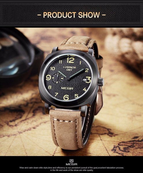 Classic USA Mens Watches Auto Date GENUINE Leather Straps Military army outdoor Casual Sports male Wrist Watch separate second dial clock