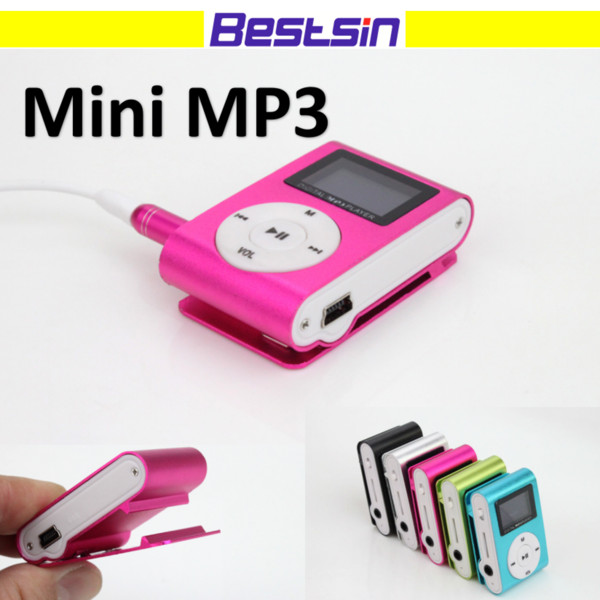 top popular MINI Clip MP3 Player with 1.2 Inch LCD Screen Music player Support Micro SD Card TF Slot + Earphone +USB Cable with box 2019