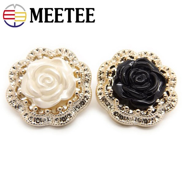 Meetee Flower Resin Button for Women Coat Plastic Black Buttons Sewing Suit Sweater Decorative clothing DIY Accessories