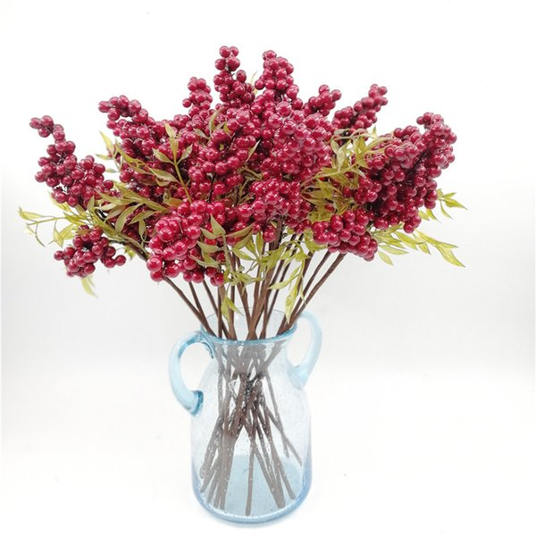 1pc Decorative Redberry Fruit Berry Artificial Flower PE Foam Flowers Fruits For Wedding Home Decoration Artificial Plants(red)
