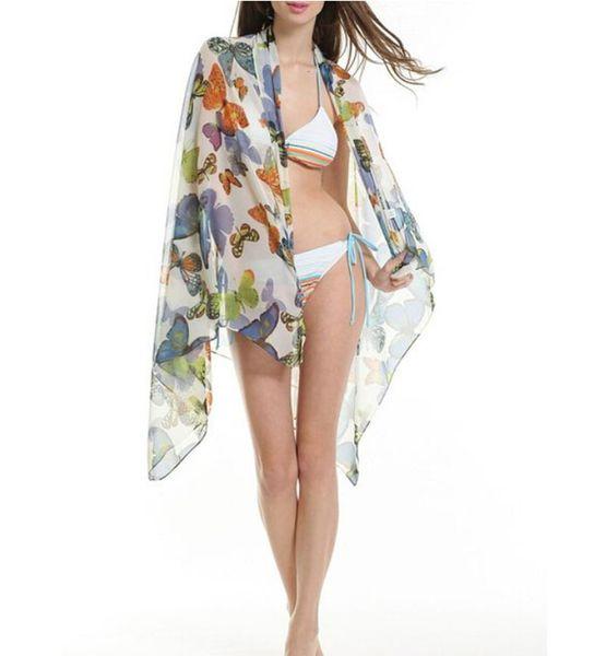 Women Swimwear Bikini Swimsuit Wrap Skirt 2015 New Butterfly Floral Print Swimsuit Cover Up Beach Suits 150*100 Summer Vestidos
