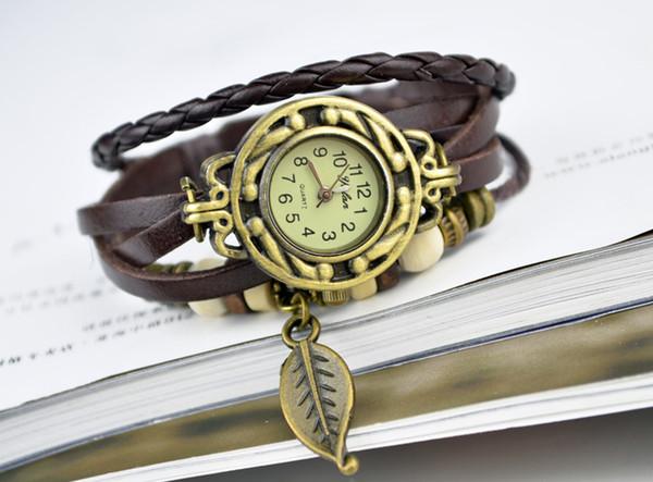 Women Leather Wrist Watch charm Bracelet Retro Vintage Owl Pendant Weave Wrap Quartz 9 Colors