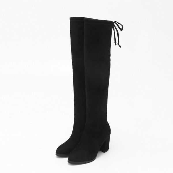 Autumn and winter fashion color suede thigh boots chunky high-heeled pointed HQW 100