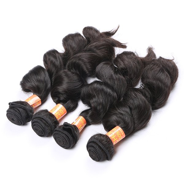 Brazilian Hair Extensions 4pcs Loose Curly Style Hair Weft Natural Color Real Brazilian Peruvian Indian Malaysian Remy Human Hair Weave 7A