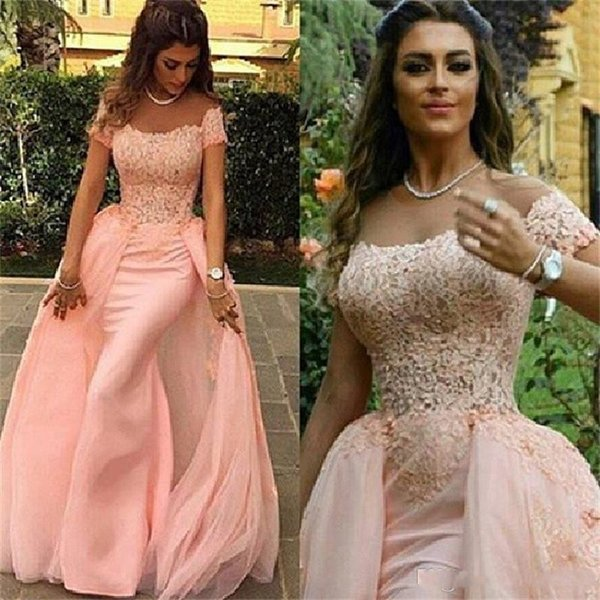 Fashion Blush Pink Off the Shoulder Mermaid Elegant Evening Gowns Sleeves Short Sleeve Lace Prom Dresses robe de soiree