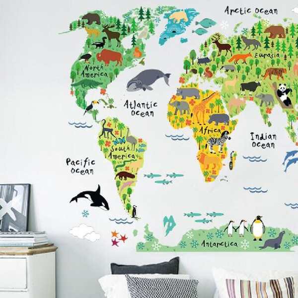 Colorful Animal World Map Wall Stickers For Kids Rooms DIY Mural Wallpaper on map frame, map tile, map accessories, map tube, map guide, map design, map panel, map stencil, map clock, map engraving, map paper, map emblem, map clip, map decor, map tool, map wallpaper, map graphics, map of ireland counties, map laptop stickers,