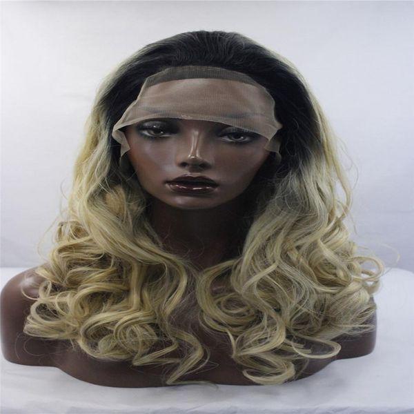 Kabell Fashion lave pelucas delanteras Raíz negra Ola grande Peluca delantera de encaje sintético Mezclado pelo de fibra resistente al calor Pelo rizado Colores mezclados