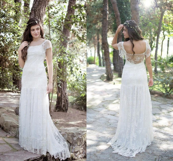2015 Lace Country Wedding Dresses Open Back Plus Size Wedding Gowns Sweep Train Long Square Neck Short Sleeve Sheath Beach Bridal Gowns