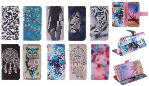 Cartera Flip Leather Flower Owl Tiger Lion Funda TPU para Samsung Galaxy S6 Edge A5 A7 J1 Alpha Grand 2 G7106 Core Prime G360