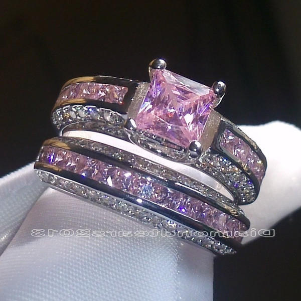 best selling Size 5-10 Wholesale Fashion Jewelry 10kt White Gold Filled Princess Cut Pink Sapphire Gemstones Women Wedding Bridal couple Ring Set Gift