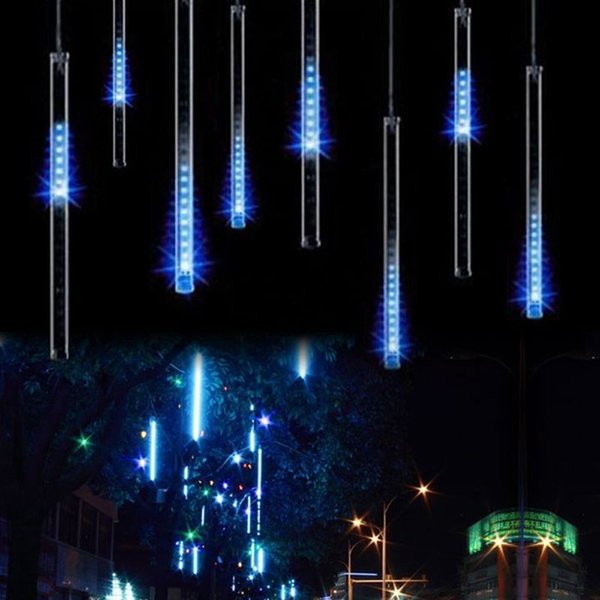 Christmas Light 8pcs/set Snowfall Tube 50cm 30CM Tube+Power Adapter Meteor Shower Rain Amazing LED Tube String Xmas Lights Decoration Tree