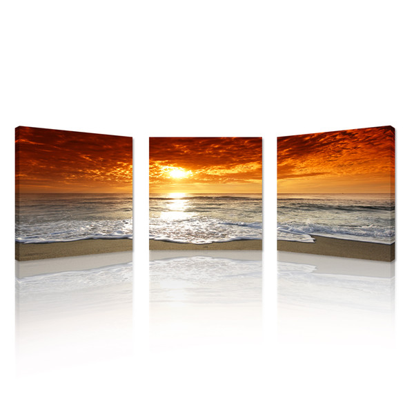 3pcs Sunset Canvas Print For Home Decoration,Canvas Artwork Seascape Beach Modern Painting Wall Art Picture Print on Canvas