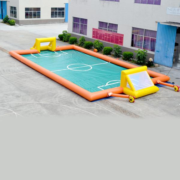 AOQI amusement park equipment wide outdoor Sports playground inflatable Football Games for kids for sale made in China