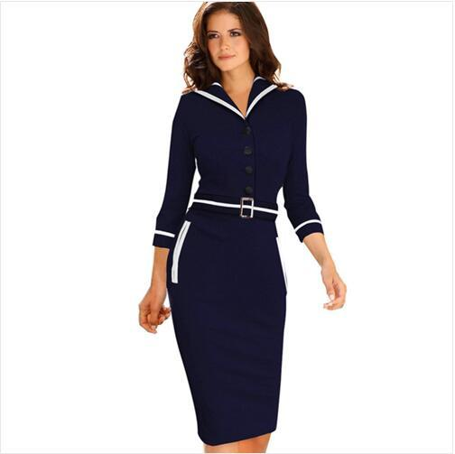 New Fashion Womens Elegant Belted Long Sleeve Colorblock Tunic Business Work Casual Party Bodycon Pencil Sheath Wiggle Dress
