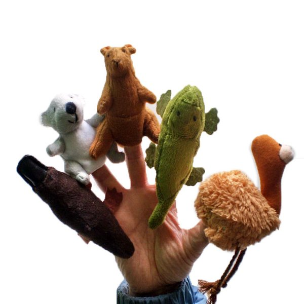 free shipping 400pcs/lot (5styles cartoon Australian animals) Finger Puppet Toy Finger Doll Baby Dolls Baby Toys Stories props