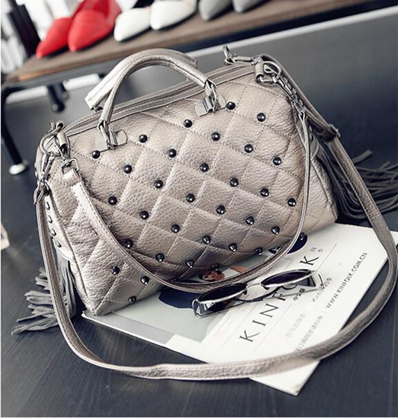 2017 New trend Pillow Shape designer tote bags PU Boston Bags lady Rivet hand bags 3 colors