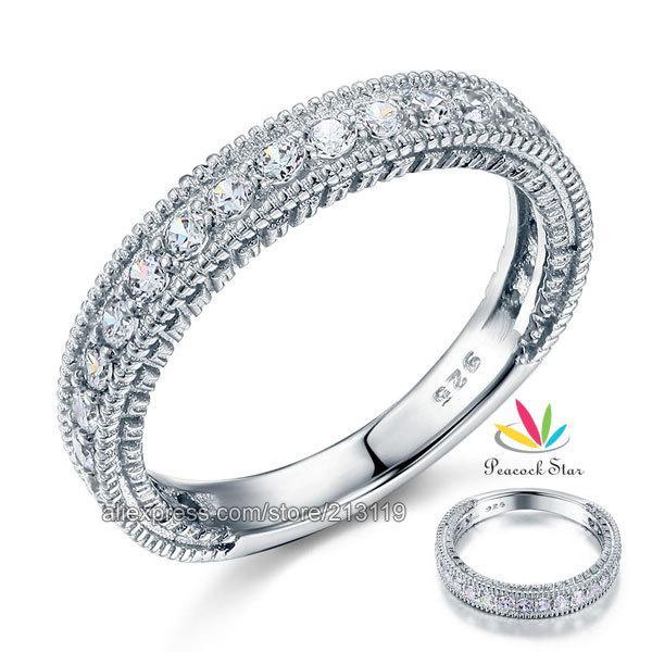 Al por mayor-venta al por mayor estilo de la vendimia Art Deco simulado diamante sólido Sterling 925 anillo de plata de la boda anillo de la eternidad de la joyería CFR8099