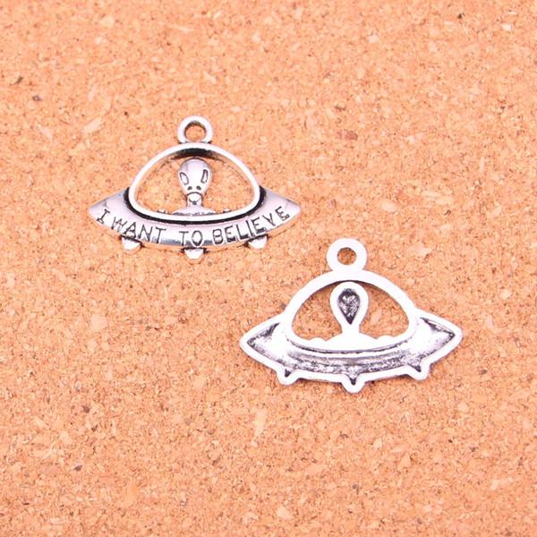80 unids Antique silver Charms alien ET creer nave espacial Colgante Fit Pulseras Collar DIY Metal Fabricación de Joyas 23 * 30mm
