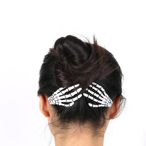 1 pair Fashion Hair Accessories Skeleton Claws Skull Hand Hair Clip Hairpin Zombie Punk Horror Bobby Pins Barrette For Women