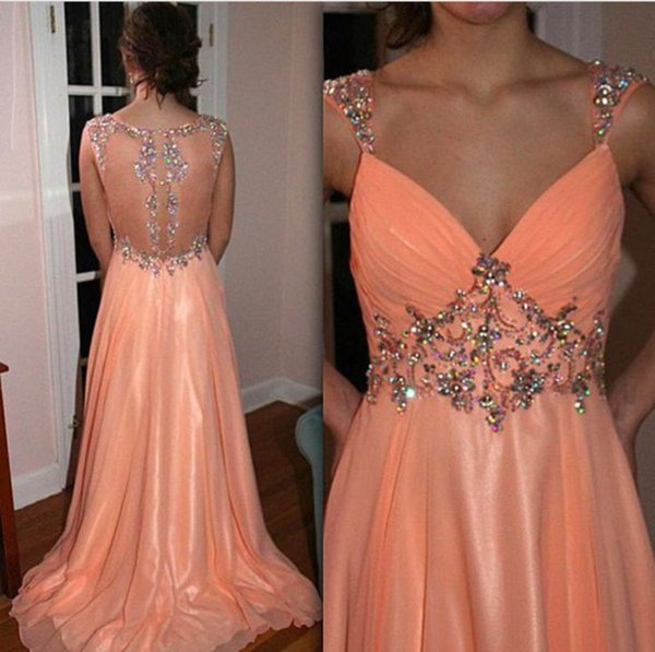 Sexy Peach Long Chiffon Crystal Prom Dresses A Line Vestidos de Festa Sheer back Colored Beaded Formal Evening Party Gowns 2018 Plus Size