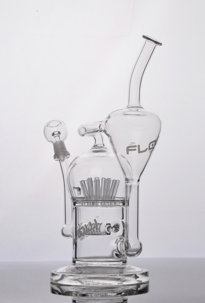 JM Flow Sci Glass Bongs Water Pipe with Sprinkler 20 arm tree diffused perc Oil Rigs with dome and nail