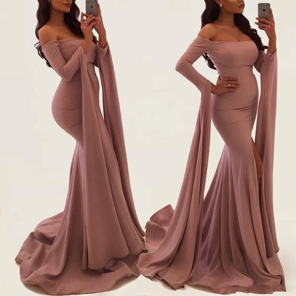 2018 Dusty Rose Off The Shoulder Mermaid Prom Dresses With Long Sleeves Ribbons Free Elegant Evening Gowns