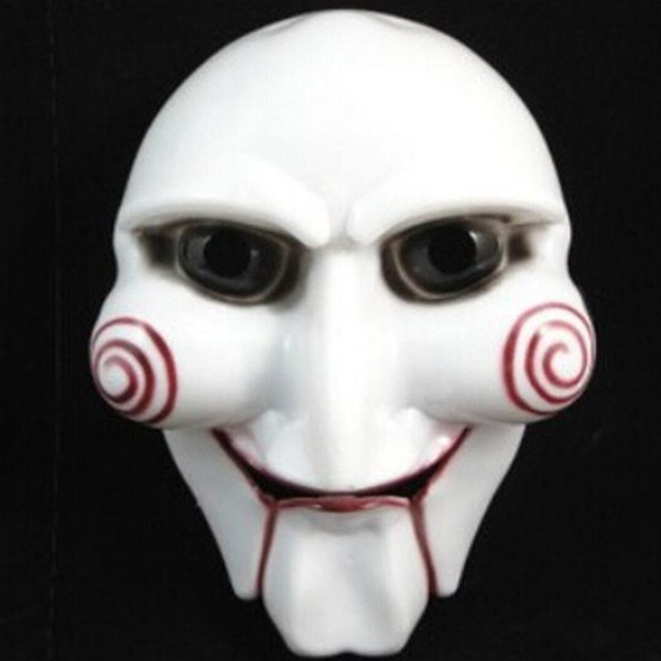 Saw Puppet Halloween Mask Head Creepy Scary Horror Mask Costumes Prop Cosplay
