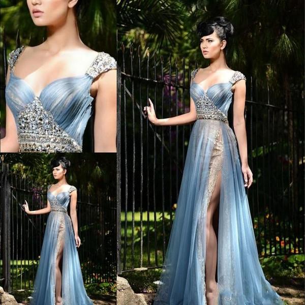 Formal Side Dividir Vestidos de Noite Rendas Beads Querida Pescoço plissados Tule Até O Chão Prom Party Vestidos de Beleza Pageant Vestido 2017