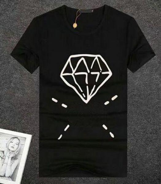 Discount European Style Cotton T Shirt Men Black White T-shirts Diamond Printed Summer Skateboard Boy Hip hop Tshirt Tops Red