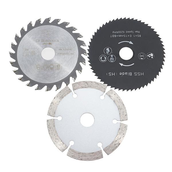 3pcs 85mm Circular Saw Blades Set HSS/TCT Wood Working Rotary Tool Cutting Discs Kit