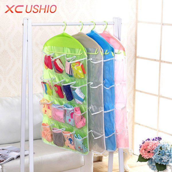 Wholesale- 16 Pockets Polyester Hanging Storage Bag Door Wall Mounted Hanging Storage Organizer Underwear Sock Cosmetic Storage Bag Pouch