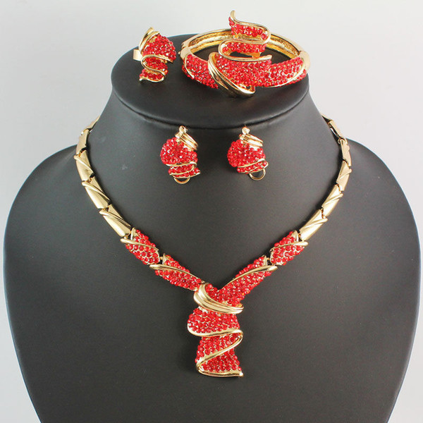 Fashion Women 18K Gold Plated Crystal Africa Dubai Necklace Earrings Bracelet Ring Wedding Party Jewelry Set