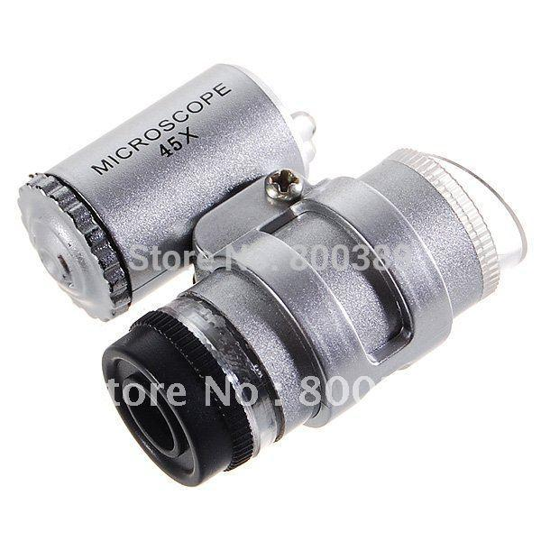 Mini 45X Jeweler Loupe Magnifying Glass Microscope with LED Lamp Free Shipping