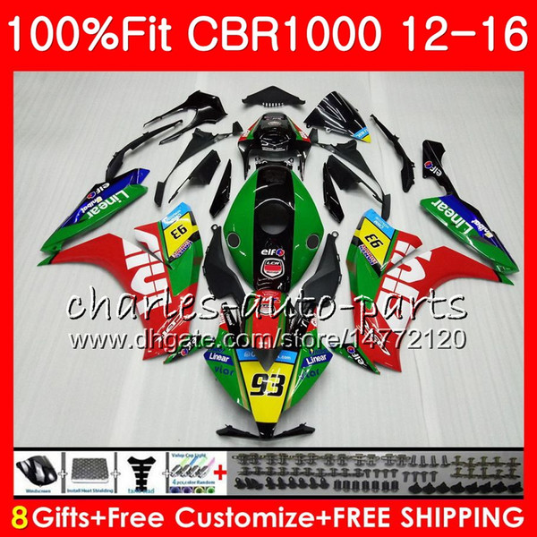 Injection Green black Body For HONDA CBR 1000 RR CBR1000RR 12 13 14 15 16 88NO7 CBR 1000RR CBR1000 RR 2012 2013 2014 2015 2016 Fairing kit