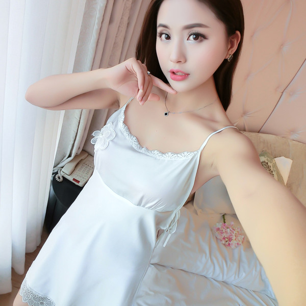9109e5e736 Wholesale- Women Sexy Silk Satin Night Dress Sleeveless Nighties V-neck  Nightgown Lace Sleep Dress Fashion Home Dress For Summer