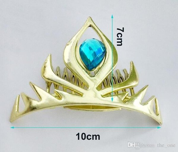 top popular Cosplay gold coronation crown snow queen crown gold plastic crown headband frozen elastic hair bands for birthday party 2020
